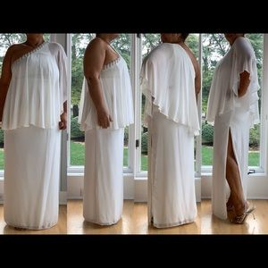Xscape One Shoulder White Maxi dress, SZ.14 NWT